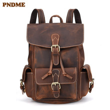 PNDME vintage simple genuine leather mens backpack daily high quality crazy horse cowhide designer double pocket bagpack