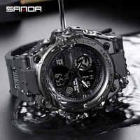 SANDA Sport Armbanduhr Männer Uhren Militär Armee Berühmte Marke Armbanduhr Dual-Display Männliche Uhr Für Männer Uhr Wasserdicht Stunden