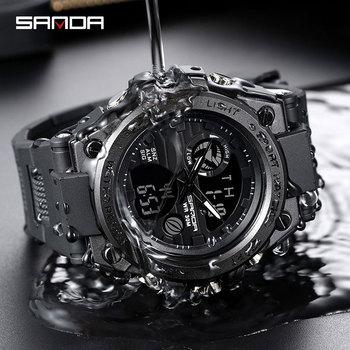 SANDA Sport Wrist Watch mężczyźni zegarki wojskowe armii znane marki zegarek podwójny wyświetlacz zegarek męski dla mężczyzn zegar wodoodporne godziny tanie i dobre opinie 25cm 3Bar Klamra Stop 17mm Hardlex Kwarcowe Zegarki Na Rękę Papier Żywica 50mm D2T-SD122 22mm ROUND Kompletna kalendarz