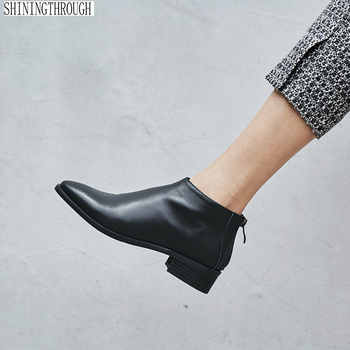 100% cow leather women shoes ankle boots woman low square heels ladies dress shoes spring autumn women boots large size 43 - Category 🛒 Shoes