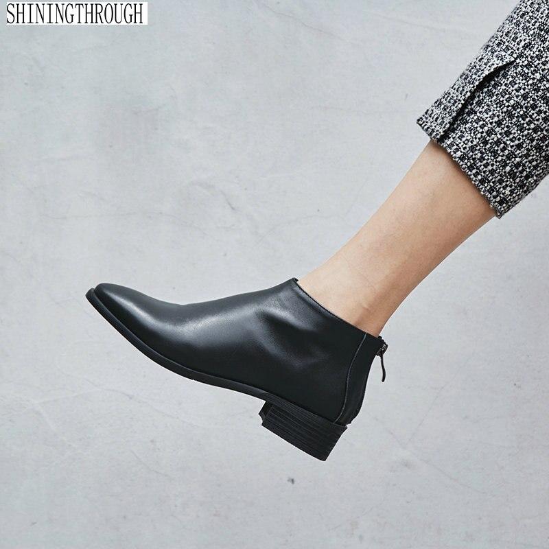100% Kuh Leder Frauen Schuhe Stiefeletten Frau Niedrigen Platz Heels Damen Kleid Schuhe Frühling Herbst Frauen Stiefel Große Größe 43