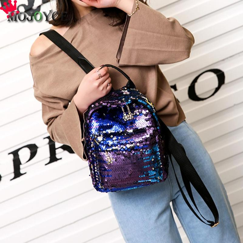 New Fashion Women Sequins Pu Leather Backpack Girl Teenage Small Travel Shoulder Schoolbag Casual Student Mochila Feminina