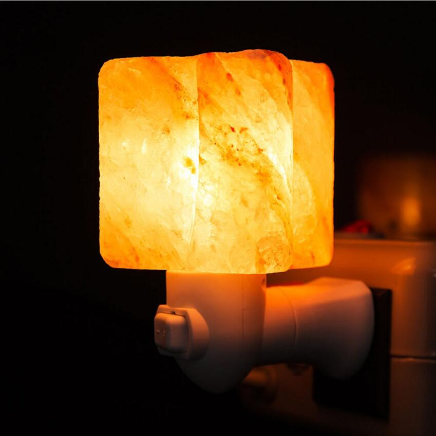 Crystal Salt Light Lamp Luminaria Small Cylinder-shaped Salt With 7w Bulb Air Purifier Himalayan Salt Healthy Night Light Lamp
