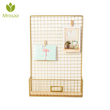 Mrosaa 45x30x8cm Nordic Style Photos Wall Hanging Rack Iron Grids Mesh hanging Decoration Living Room Decor with postcard clip