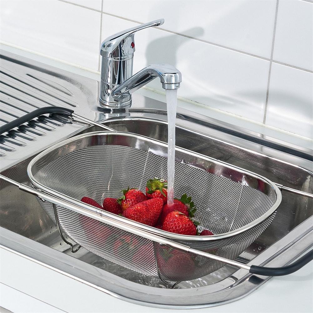 Nastro In Acciaio Inox Cuoco Cestino Pieghevole Multi-funzione Colino Cook Fried cestino Per Il Lavaggio Risciacquo Frutta Verdura