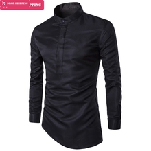 Camisa Shirt Fashion Plus Size Slim Fit Mens Personality Inclined Hem Long Sleeve ,m-3xl,size 3xl=us Xl,gx87