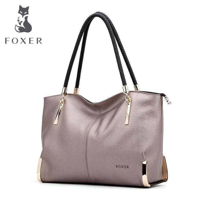 FOXER Brand Luxury Women's Leather Shoulder bag Large Capacity Zipper Handbag Fe