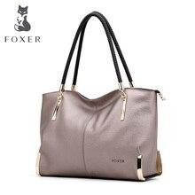 Foxer marke luxus frauen leder umhängetasche große kapazität reißverschluss handtasche weiblichen beutel dame totes