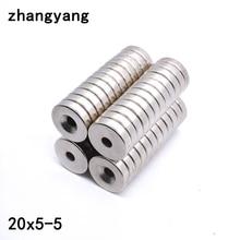 2 5 10Pcs 20x5 5 Neodymium Magnet 20mm x 5mm Hole 5mm N35 NdFeB Round Super