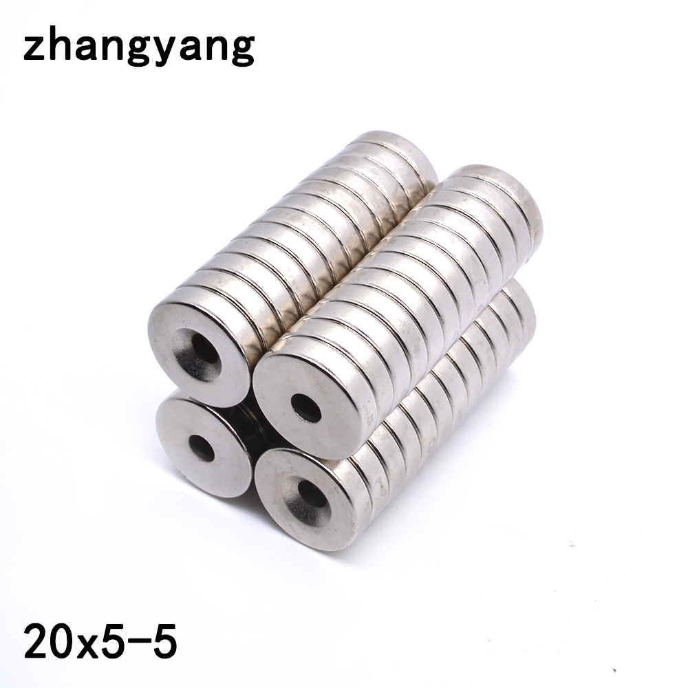 ZHANGYANG 5pcs/lot Dia 20x5mm hole 5mm Ring Round Neodymium Magnets With Hole 5mm NEW 20*5MM Rare Earth N35 Free Shipping цена