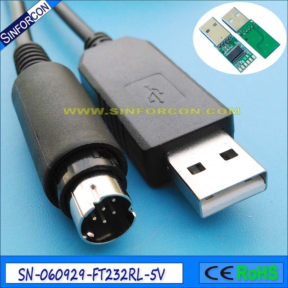 FTDI USB TTL 5v to mini DIN 8P male Programming CAT cable for Yaesu FT-857 FT-857D FT-897 FT-897D CT-62