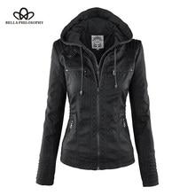 bfa630ed7 Bella Filosofia Mulheres hoodies Inverno Jaqueta Moto Hot Turn Down Collor  Senhoras Outerwear falso Casaco de couro PU Jaqueta f.