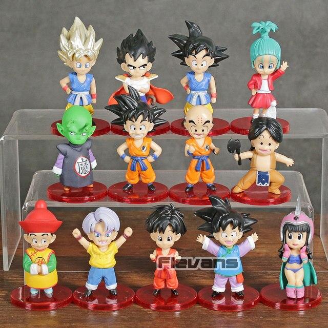 Dragon Ball Z Son Goku Gohan Vegeta Trunks Criança Chichi WCF Bulma Upa Piccolo PVC Figuras Brinquedos Kuririn 13 pçs/set