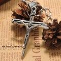 Jesus cruz pingente de colar de jóias de aço inoxidável crucifixo colares KP362