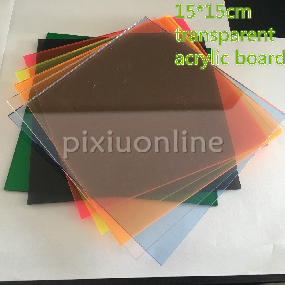 J583 15*15*0.23cm 7Colors Colorful Transparent Acrulic Plate Perspex Sheet Plastic Board DIY Model Dropshipping