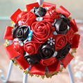 Red Coffe Color DIY Custom Artificial Flowers Silk Rose Bouquet Wedding Flowers buque de noiva Bridesmaid Bridal Wedding Bouquet