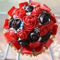 Rojo Café Color de Encargo DIY Flores Artificiales de Seda Rosa Ramo de la Boda Flores buque de noiva Nupcial Ramo de La Boda de dama de Honor