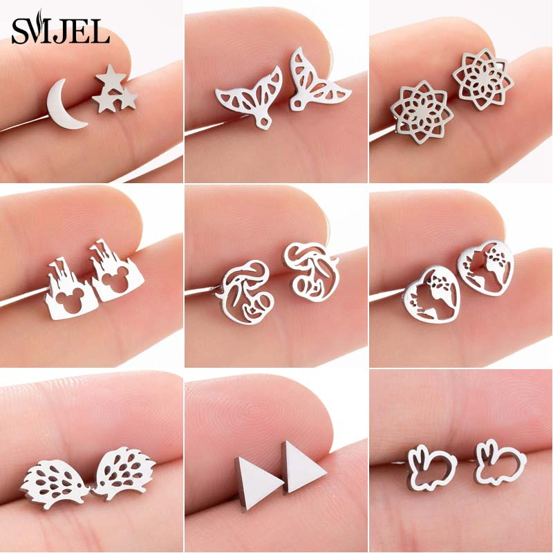 SMJEL Cute Stainless Steel Stud Earrings For Women Simple Fashion Mom Geometric Mermaid Tail Earring Jewelry Birthday Gift Bijou