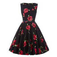 Ladies Dresses Casual 50s Vintage Vestidos 2016 Style Retro Robe Femme Ete Sexy Club Print Retro