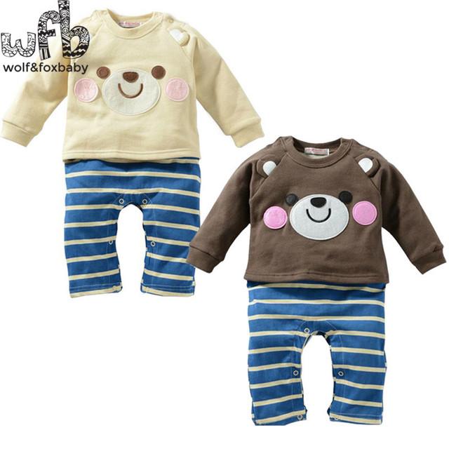 Varejo 1-3years 4 padrões blush tira urso longo-Sleeved meninos romper Do Bebê crianças macacões Infantil Roupas moda primavera queda