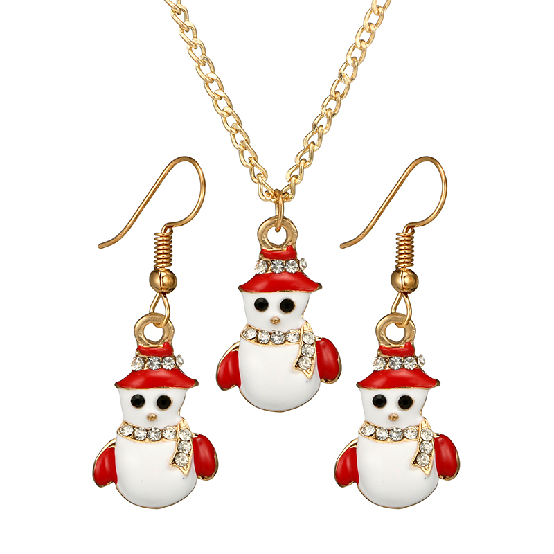 Women Jewelry Sets Christmas Snowman Shape Pendant Necklace and Earring Set Fashion Exquisite Christmas Gift