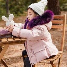 цена на Baby Girl Winter Snowsuit Chidlren Hooded Down Thicken Jackets Teenage Girls Warm Outerwear Parka Coats Korean Kids Clothes 2-12