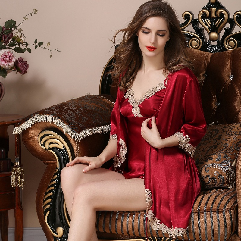 High grade silk pajamas sexy nightgown for women lace gown long sleeved silk  three-piece set sleepwear Home Furnishing