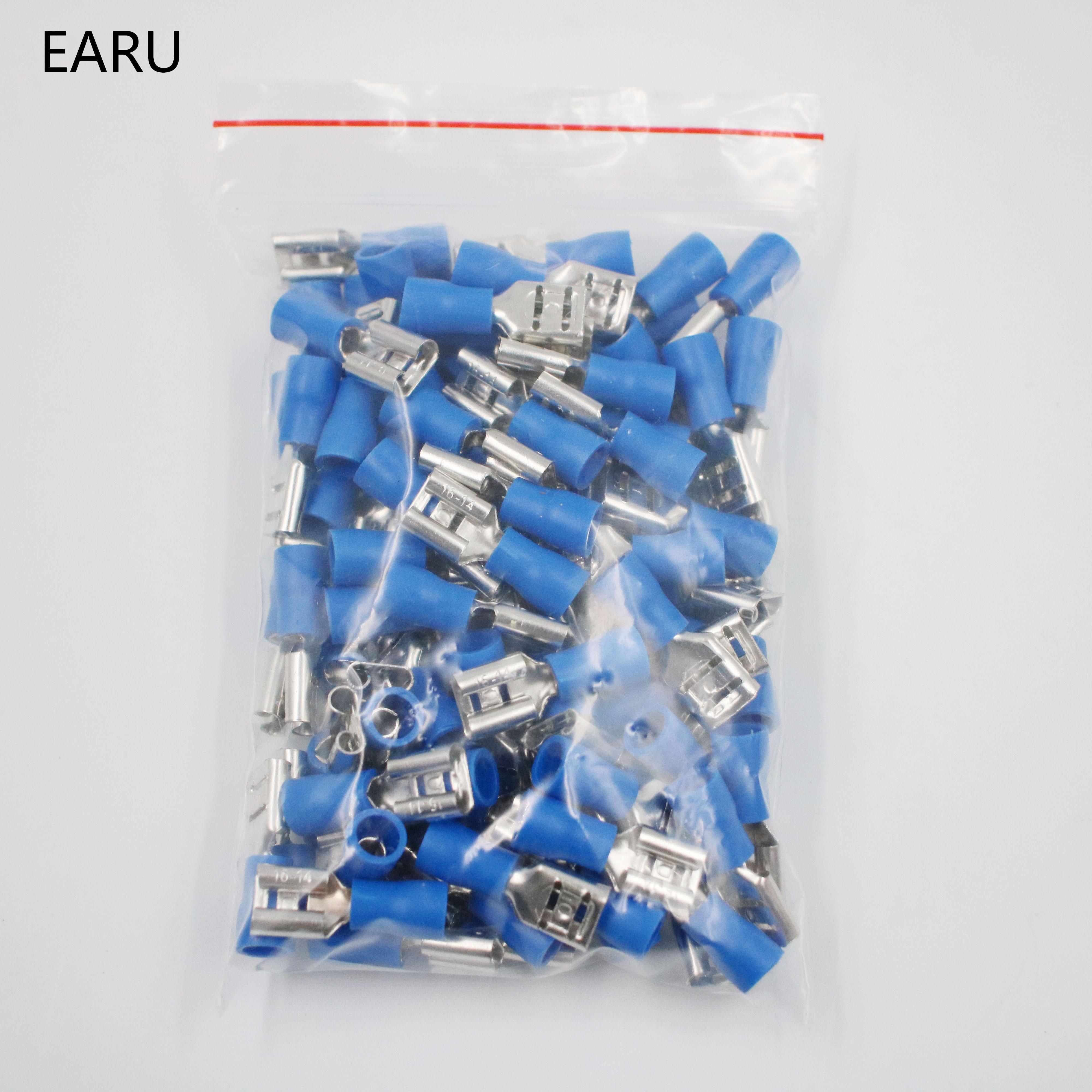 100Pcs Blue SV2-4 Furcate Pre-Insulating Fork Spade Crimp Terminals 16~14AWG