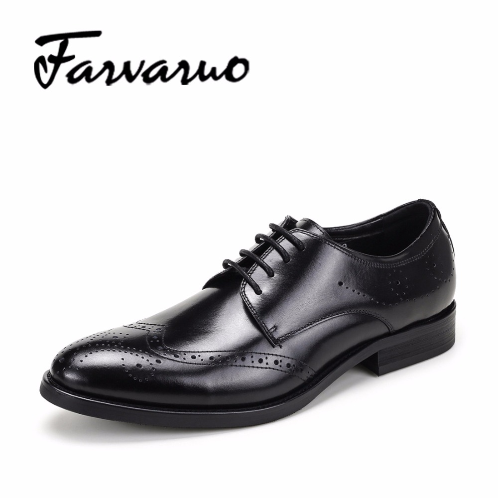 Farvarwo Vintage Classic Oxford Brogue Shoes for Adult Men Dress Shoes Genuine Leather Formal Lace Up Office Footwear Mens Black classic style classic mens dress shoes deep coffee color genuine leather oxford shoes for men lace up pointy loafers high heels