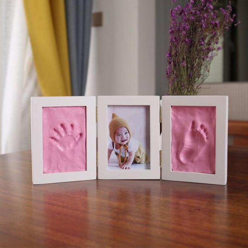 Bonito quadro da foto do bebê diy handprint impressão de ar secagem pegada argila macia crianças fundição pai-filho mão inkpad impressão digital