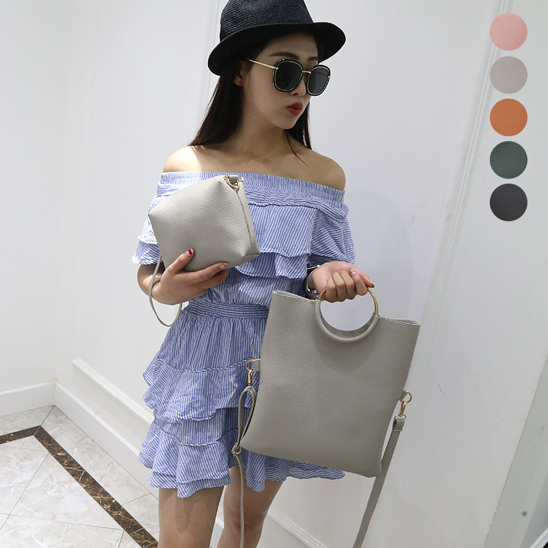 2 Pcs/Set Women Shoulder Bag Leather Solid Color Metal Ring Zipped Adjustable Strap Handbag Ladies Girls Messenger Bags new fashion women message bags with small purse metal ring handle leather handbag ladies girls trendy shoulder bag balestra