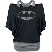 FancyQube Batman Fake 2 Pieces Women's T Shirt New Bat Sleeve T-Shirt Casual Loose Shirt Plus Size 2XL Women Clothing