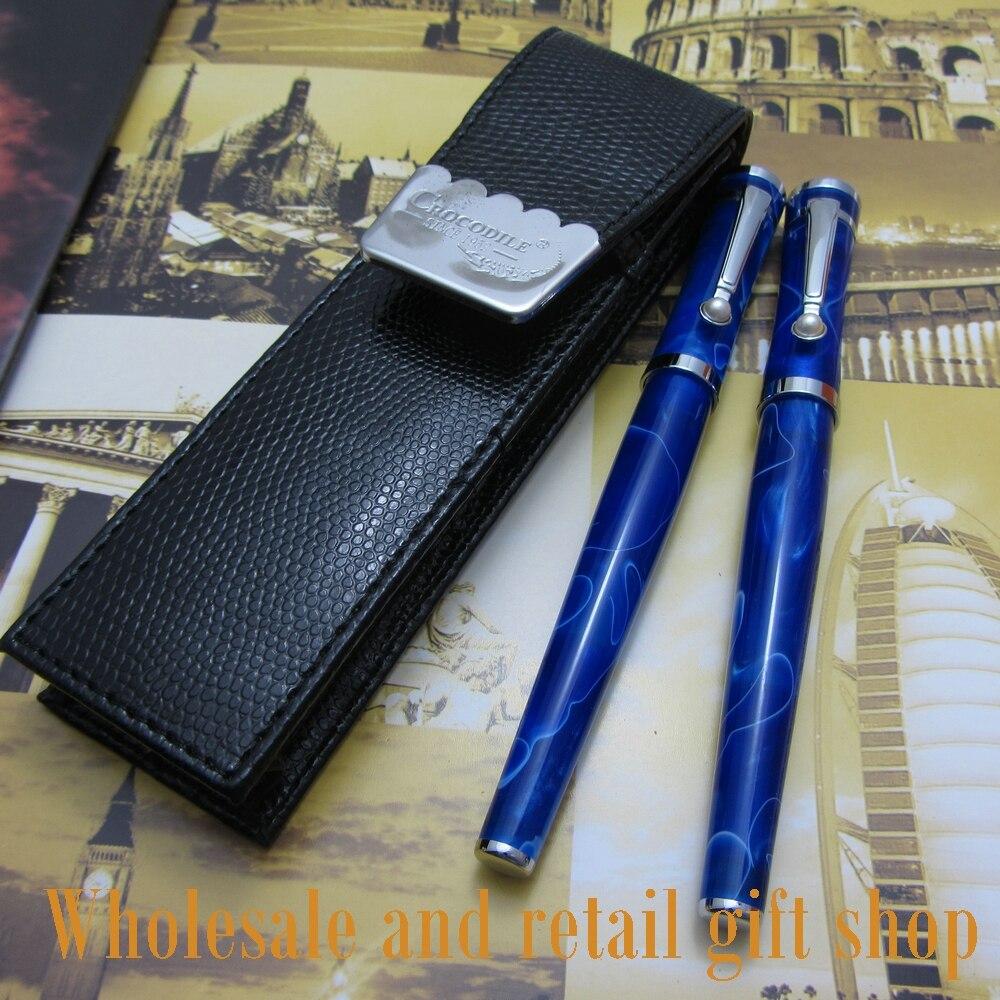 blue pen 2pcs Fuliwen pen high quality acrylic cover new pen and pen bag roller + fountain fuliwen 2pcs black roller pen high quality acrylic coverand pen bag office writing gift pen