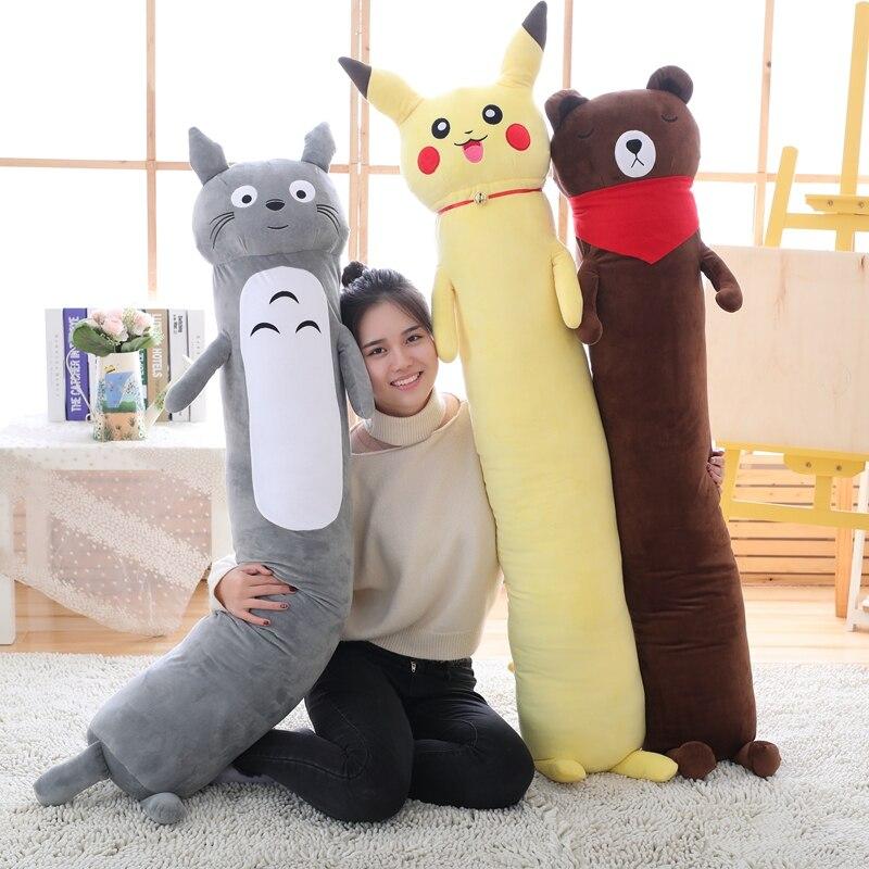 Pikachu Totoro ours brun Long coussin d'oreiller en peluche Kawaii dessin animé jouets enfants présents jouets enfants bébé cadeau d'anniversaire