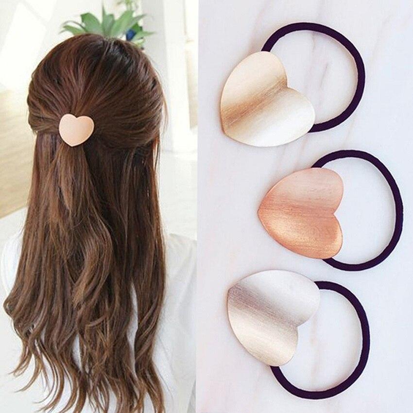M MISM Ins Korean Girls Hair Accessories Women Metal Heart Elastic Hair Ties Bands Gum For Hair Scrunchie Scrunchy Mujer