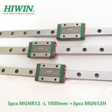 3 pces taiwan original hiwin trilho de guia linear mgnr12 l 1000mm + 3 pces mgn12h blocos para 12mm mini kit cnc mgn12