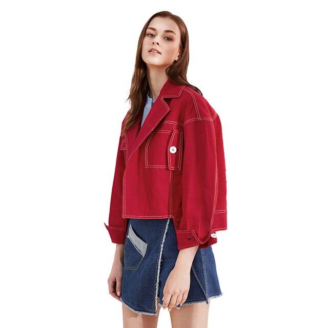 Women Red Long Sleeve Denim Jackets 2018 New Autumn Spring Boyfriend