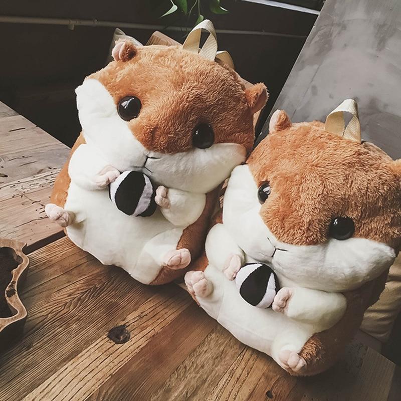 Cute Girls Hamster Backpack Plush Bags Fashion Personality Khaki Shoulder Warm Hand Plush Toy Bags Children Girl Kawaii Toys