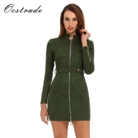 Ocstrade Suede Dresses 2017 Runway Womens Fashion Long Sleeve Bodycon Dress with Belt