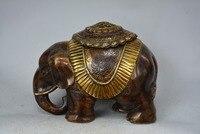 Rare old Tibet brass gilt elephant running,Free shipping
