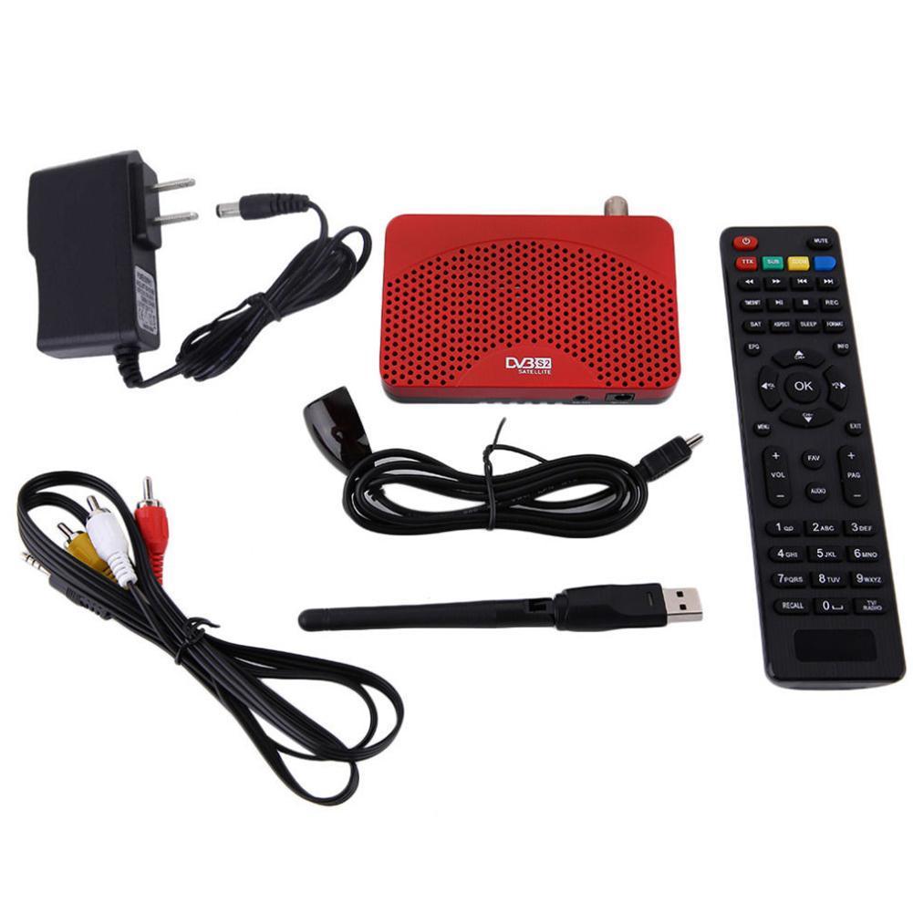 Mini Boyut Full HD 1080 P DVB-S2 S Uydu Alıcısı Cccam Powe vu dekoder TV Box PVR Kaydedici Destek AC3 Ses + 2dbi USB WiFi