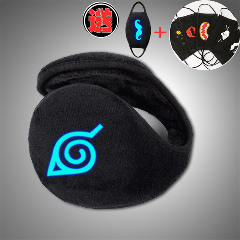 Naruto Hokage Ninja Unisex New Men Style Black Earmuff Winter Ear Muff Luminous Wrap Band Warmer Grip Earlap With Free Mask Gift