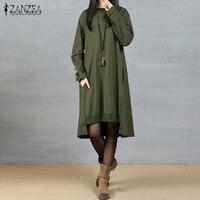 New ZANZEA Vintage Vestido Crew Neck Long Sleeve Packets Splice Leisure Stylish Autumn Women Oversized A