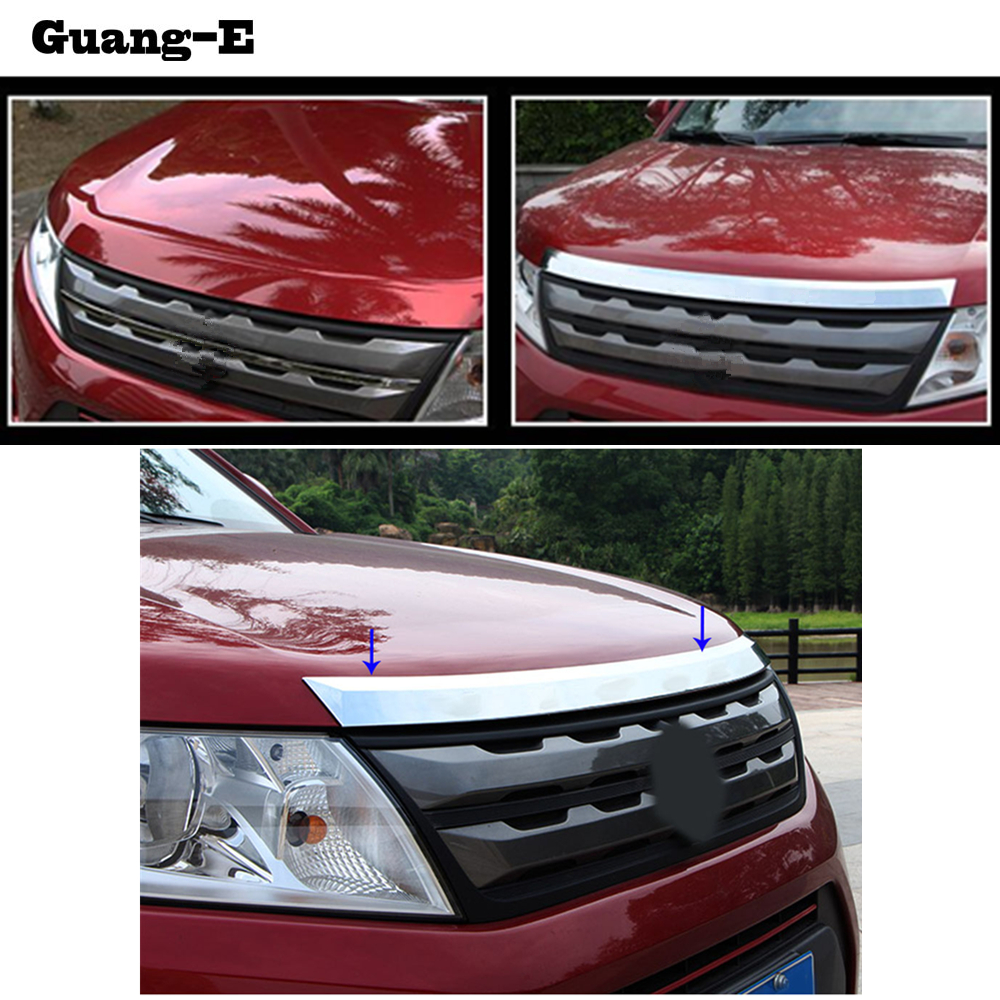 цена на High quality for Suzuki Vitara 2016 2017 2018 car garnish ABS Chrome front engine Machine grille upper hood stick lid trim lamp