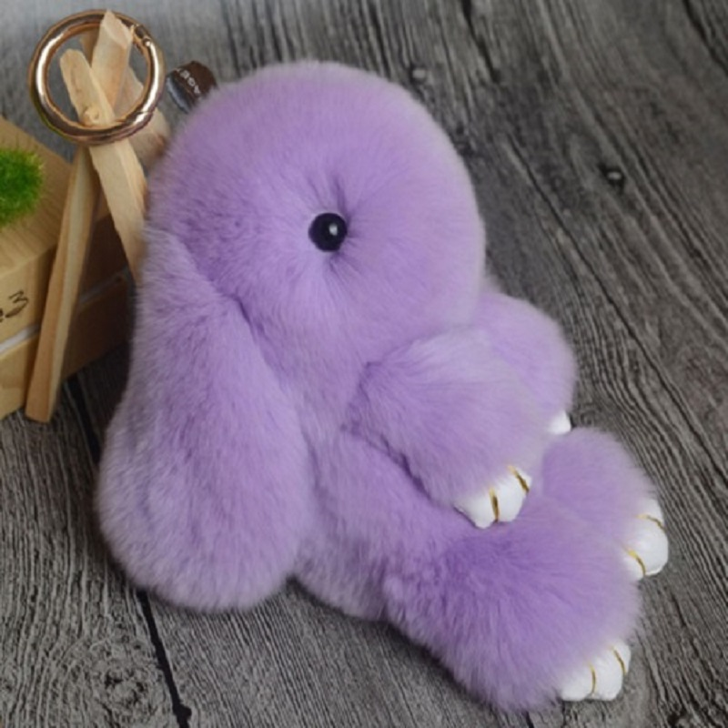 Rabbit Keychain Cute Fluffy Bunny Keychain Rex Genuine Rabbit Fur Pompom Key Ring Pom Pom Toy Doll Bag Charm Car Key Holder 9