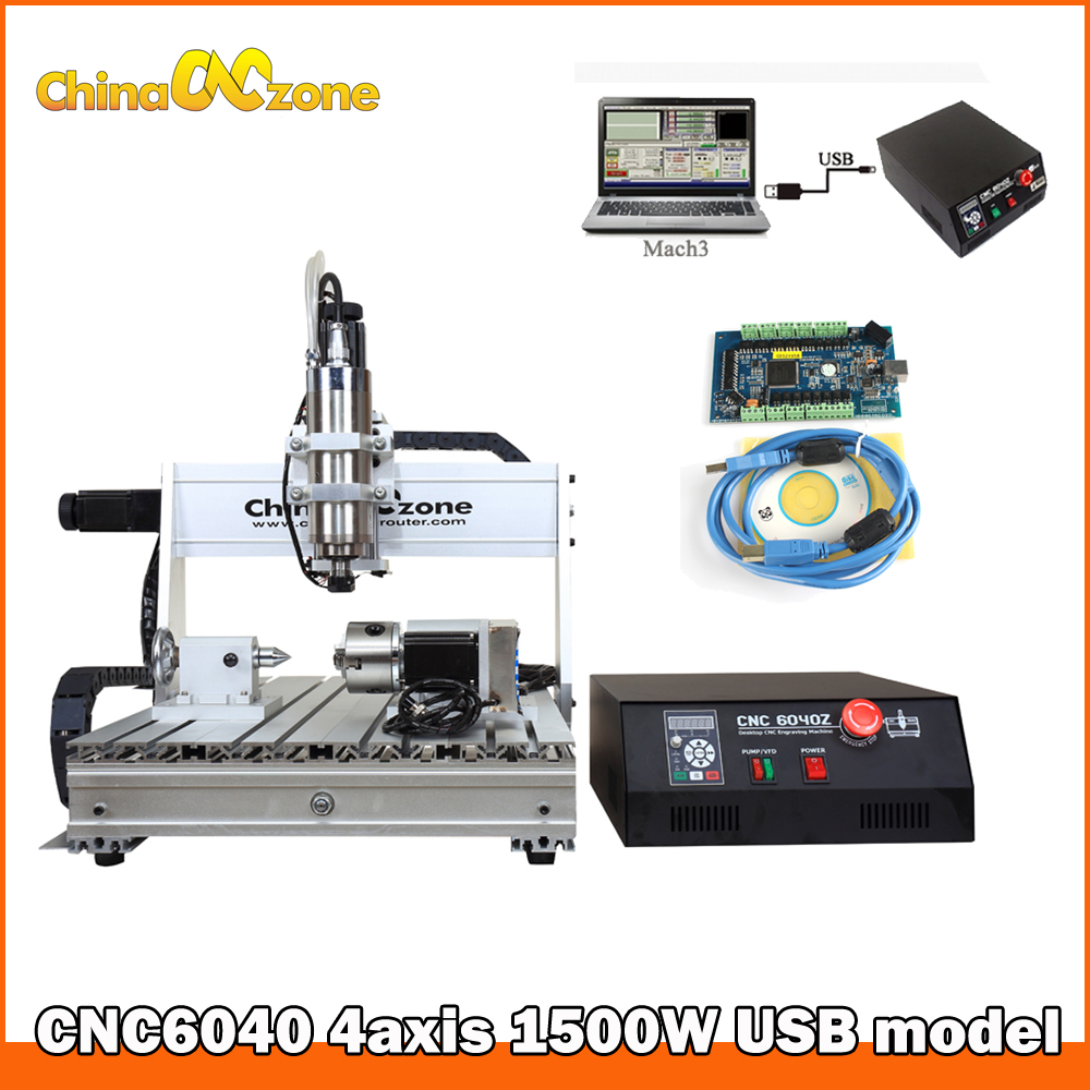MACH3 CNC 6040 4axis 1.5KW Spindle with Ballscrew Tailstock Rotary Axis CNC Router Engraver Machine CNC Facotry RU free Tax no tax to russia 4 axis cnc milling machine cnc 6040 router engraver usb 2 2kw with rotary axis cnc controller and limit switch