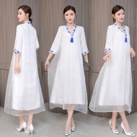 2019 New Spring Summer High Quality Women Fashion Retro Style Chinese Dress Literary Artistic Work Wear Plus Size White Dresses