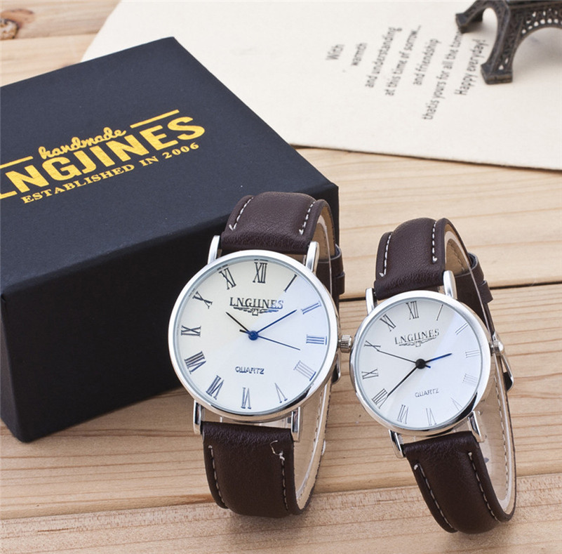 2pcs Fashion Couple Watches Casual High Gloss Glass Leather Belt Wrist Watch Set Contains Box Lover Clock Gifts Reloj Mujer /C