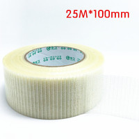 Strong Gridding Fiber Tape and Strong Fiber Strips Adhesive Tape DIY model super strong mesh single sided tape 25M*100mm