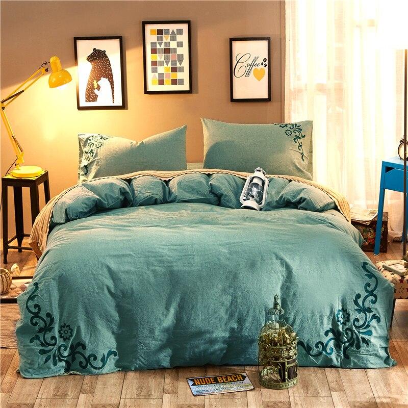 Juego de cama de tamaño Queen King de 4 piezas de bordado verde juego de cama de algodón lavado sábana edredón cubierta/fundas de almohada